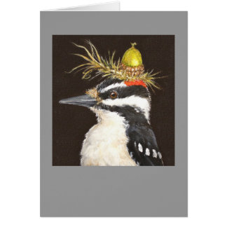 woodpecker with acorn hat card