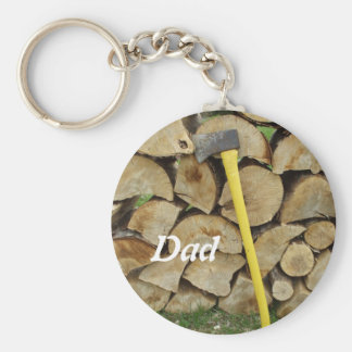 Woodpile and Axe Basic Round Button Keychain