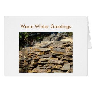 Woodpile, Warm Winter Greetings Card