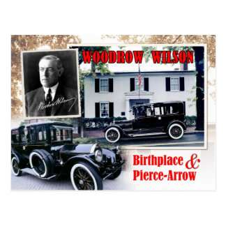 Woodrow Wilson Birthplace & Pierce-Arrow Limousine Postcard