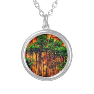 Woods Round Pendant Necklace