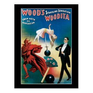 Wood's Startling Sensation Vintage Magician Postcard