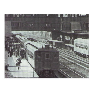 Woodside Station with Trains Long Island Railroad Postcard