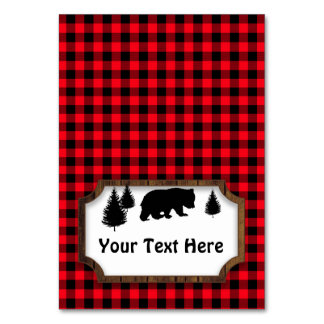 Woodsy Bear Food or Name Folding Table Party Tag Card