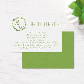 Woodsy Elegance | Wedding Day Signature Cocktail Business Card