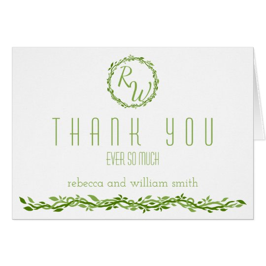 Woodsy Elegance | Wedding Vine Green Thank You Card