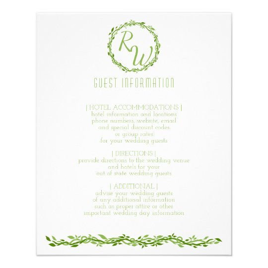 Woodsy Elegance | Wedding Vine Guest Information Personalized Flyer