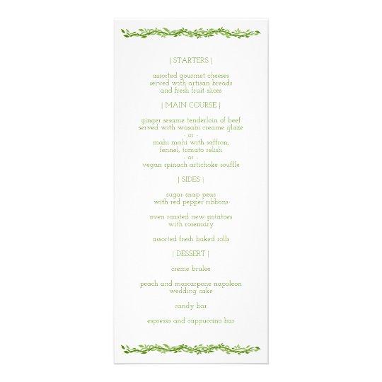 Woodsy Elegance | Wedding Vine Reception Menu
