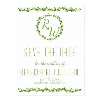 Woodsy Elegance | Wedding Vine Save The Date Postcard