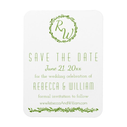 Woodsy Elegance | Wedding Vine | Save The Date Rectangular Photo Magnet