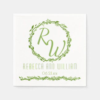 Woodsy Elegance | Wedding Vine Simple Classic Paper Napkin