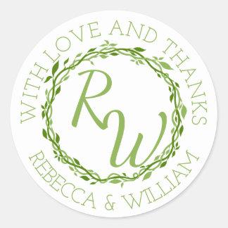 Woodsy Elegance   Wedding Vine Thank You Favour Round Sticker