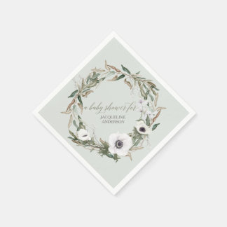 Woodsy Foliage Floral Wreath Anemone Watercolor Paper Napkin