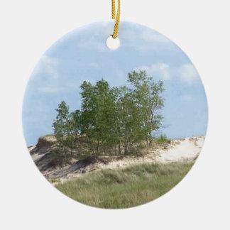 Woodsy Sand Dunes Round Ceramic Ornament