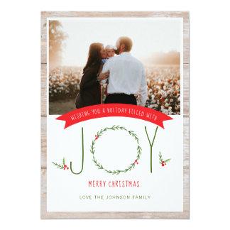 Woodsy Wreath Berries Joy Christmas Card