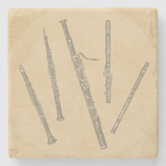 Woodwind Instruments Old Line Drawings Stone Coaster