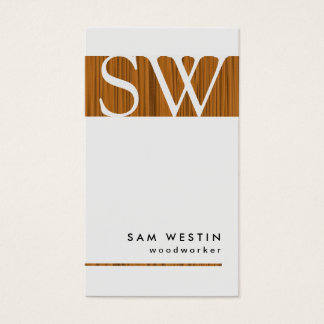 Woodworker Bold Monogram Business Card