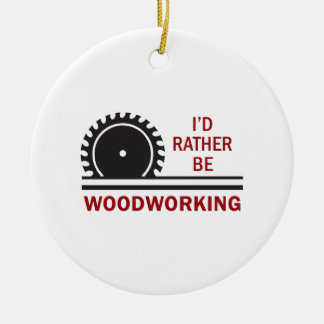 WOODWORKING ROUND CERAMIC ORNAMENT