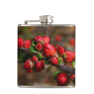 Woody Red Blooms Hip Flask