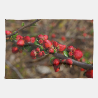 Woody Red Blooms Kitchen Towel