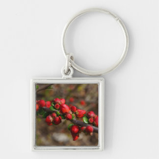 Woody Red Blooms Silver-Colored Square Keychain