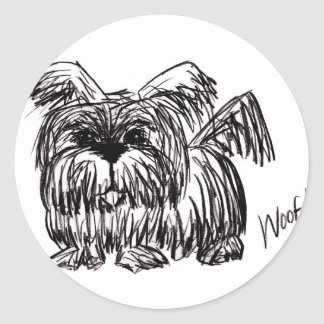 Woof A Dust Mop Dog Classic Round Sticker