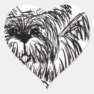 Woof A Dust Mop Dog Heart Sticker