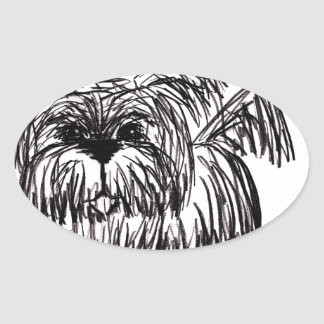 Woof A Dust Mop Dog Oval Sticker