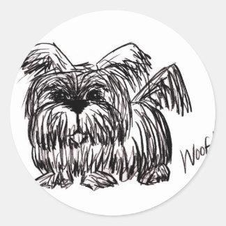 Woof A Dust Mop Dog Round Sticker