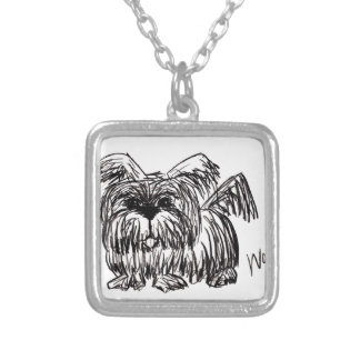 Woof A Dust Mop Dog Silver Plated Necklace
