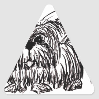 Woof A Dust Mop Dog Triangle Sticker