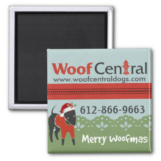 Woof Central Christmas Magnet