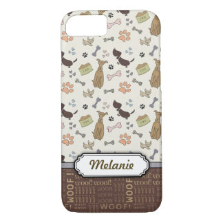 WOOF! Dog Lover - Puppies pattern personalizable iPhone 8/7 Case