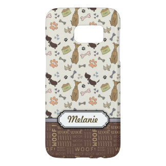 WOOF! Dog Lover - Puppies pattern personalizable Samsung Galaxy S7 Case