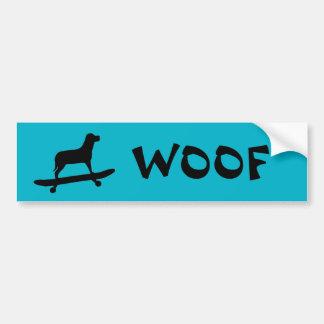 Woof - Dog Skateboarding - Bumper Sticker