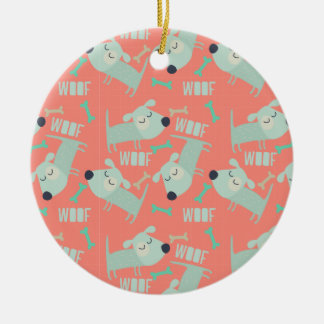 Woof Dogs and Bones Ceramic Ornament