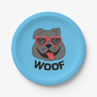 Woof - Funny Bulldog Party Accessories 7 Inch Paper Plate