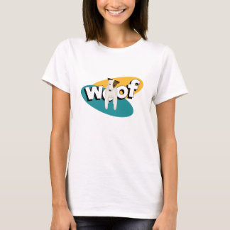 woof Jack Russell Terrier dog teal gold white T-Shirt