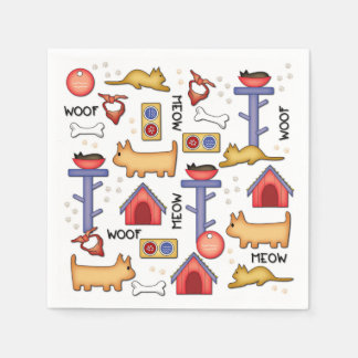 Woof & Meow White Paper Napkins