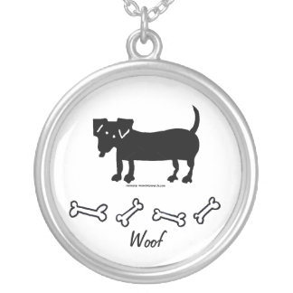 Woof Round Pendant Necklace