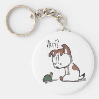 Woof? Puppy Keychain! Basic Round Button Keychain