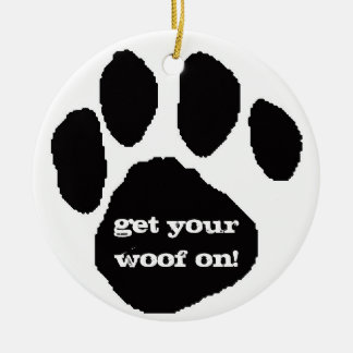 Woof Woof Holidays Round Ceramic Ornament