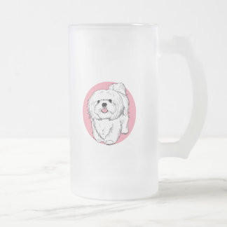 woof! woof! Lhasa apso Frosted Glass Beer Mug