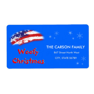 Woofy Christmas USA Red White Blue Flag Shipping Label