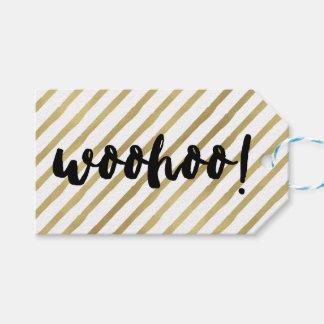 Woohoo | Black & Faux Gold Stripe Gift Tags