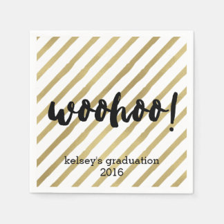 Woohoo   Black & Faux Gold Stripe Graduation Disposable Napkins