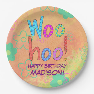 Woohoo Word Text Art Name Personalized Birthday Paper Plate