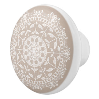Wool Mandala Ceramic Knob