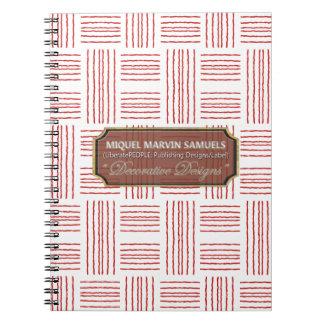 Wool Pattern Decorative Red White Modern Notebook