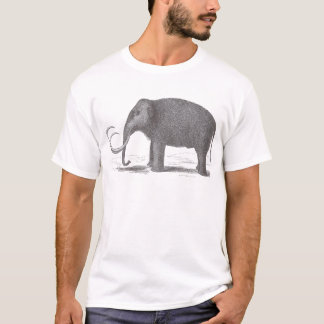 Woolly Mammoth Extinct Mastodon Antique Print T-Shirt